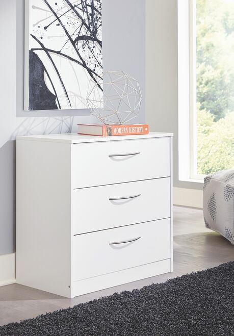 Flannia White Three Drawer Chest