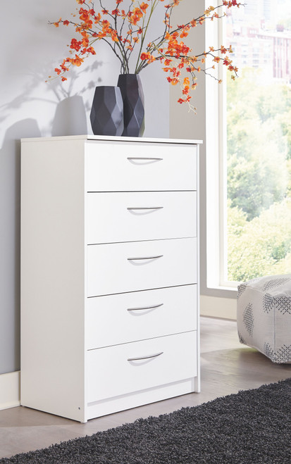 Flannia White Five Drawer Chest