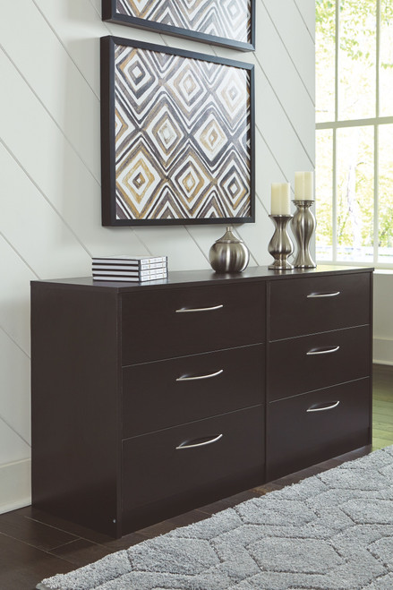 Flannia Black Six Drawer Dresser