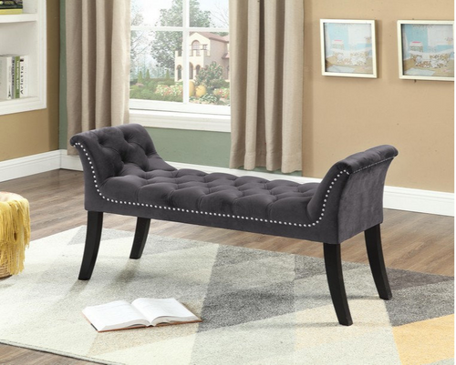 -Velvet Bench with Tufting and Nailhead Black