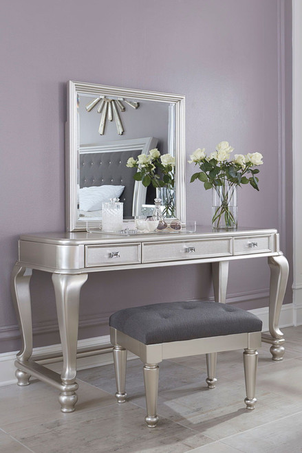 Coralayne Silver Vanity and Mirror with Stool