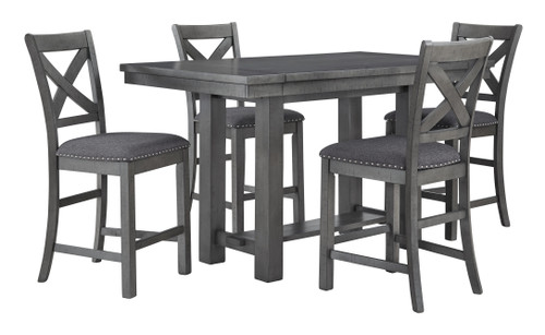 Myshanna Gray 5 Pc. Rectangular Dining Room Counter Extension Table, 4 Upholstered Barstools