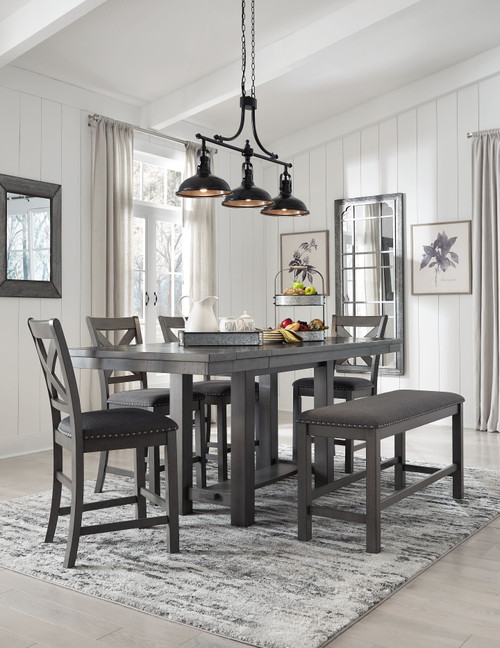 Myshanna Gray 6 Pc. Rectangular Dining Room Counter Extension Table, 4 Upholstered Barstools, Upholstered Bench