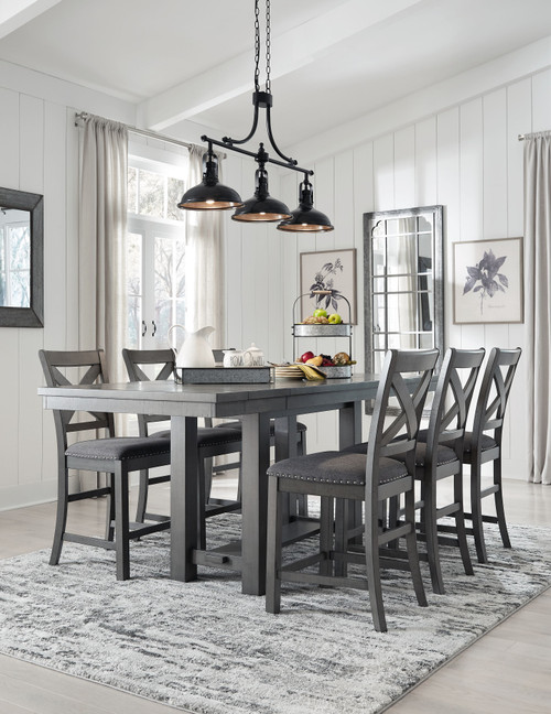 Myshanna Gray 7 Pc. Rectangular Dining Room Counter Extension Table, 6 Upholstered Barstools