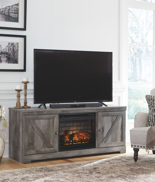 """Wynnlow Gray 2 Pc. 63"""" TV Stand with Faux Firebrick Fireplace Insert"""