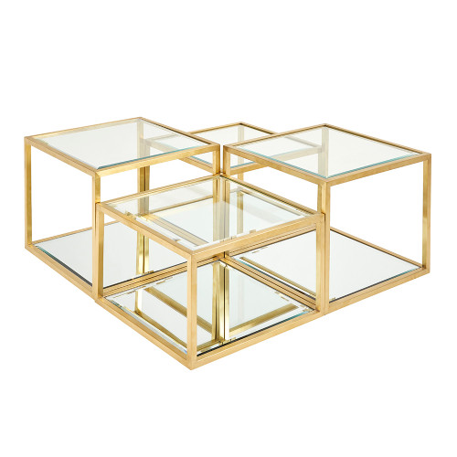 -  Multi-Level Gold Coffee Table