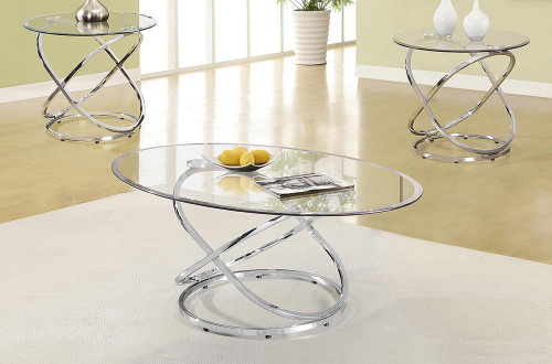 - Oval Chrome and Glass Coffee Table Only