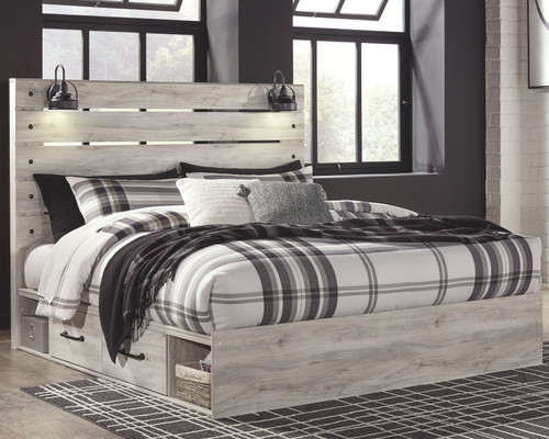 Cambeck Whitewash King Panel Bed with 4 Storage Drawers