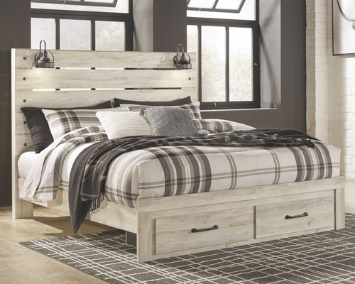 Cambeck Whitewash King Panel Bed with 2 Storage Drawers