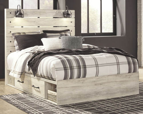 Cambeck Whitewash Queen Panel Bed with 4 Storage Drawers