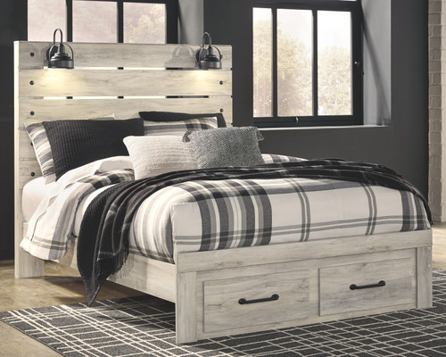 Cambeck Whitewash Queen Panel Bed with 2 Storage Drawers