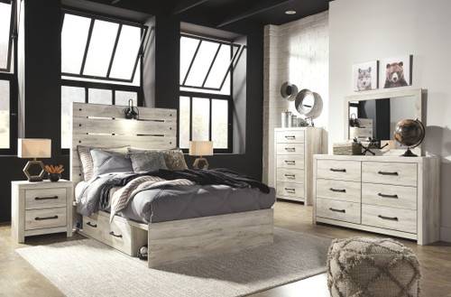 Cambeck Whitewash 7 Pc. Dresser, Mirror, Full Panel Bed with 4 Storage Drawers