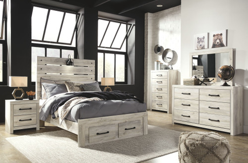 Cambeck Whitewash 7 Pc. Dresser, Mirror, Full Panel Bed with 2 Storage Drawers, 2 Nightstands