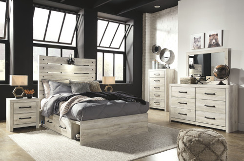 Cambeck Whitewash 8 Pc. Dresser, Mirror, Full Panel Bed with Side Storage Drawers, 2 Nightstands