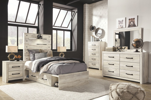 Cambeck Whitewash 9 Pc. Dresser, Mirror, Chest, Twin Panel Bed with Side Storage Drawers, 2 Nightstands
