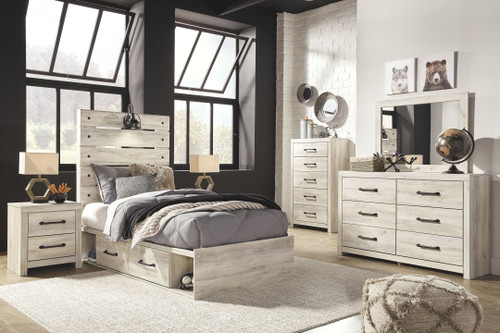Cambeck Whitewash 10 Pc. Dresser, Mirror, Chest, Twin Panel Bed with 4 Storage Drawers, 2 Nightstands