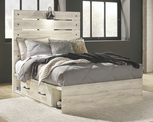 Cambeck Whitewash Full Panel Bed with 4 Storage Drawers