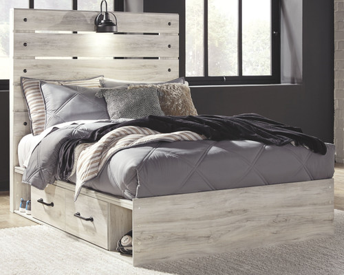 Cambeck Whitewash Full Panel Bed with Side Storage Drawers