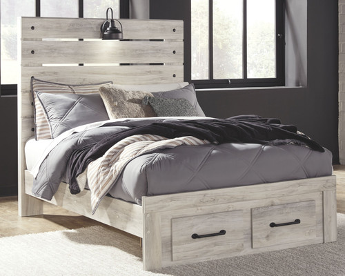 Cambeck Whitewash Full Panel Bed with 2 Storage Drawers