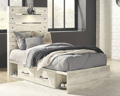 Cambeck Whitewash Twin Panel Bed with 4 Storage Drawers