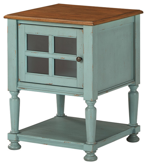 Mirimyn Teal/Brown Accent Cabinet