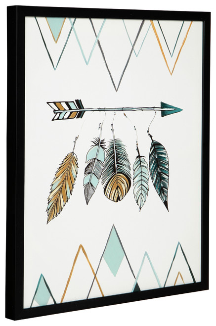 Adaley Teal/White/Gray Wall Art