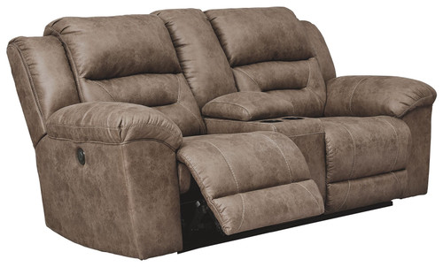Stoneland Fossil Double Reclining Power Loveseat w/Console