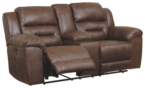 Stoneland Chocolate Double Reclining Power Loveseat w/Console