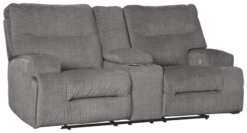 Coombs Charcoal Double Reclining Power Loveseat w/Console