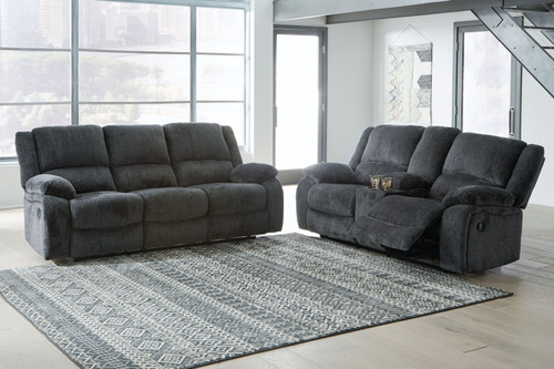 Draycoll Slate 2 Pc. Reclining Sofa, Double Reclining Loveseat with Console