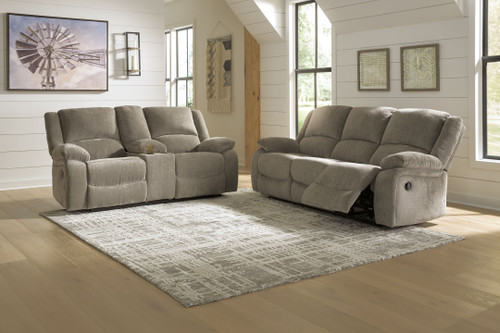 Draycoll Pewter 2 Pc. Reclining Sofa, Double Reclining Loveseat with Console