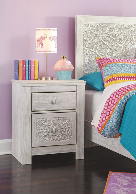 Paxberry Whitewash Two Drawer Night Stand