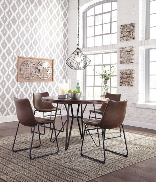 Centiar Two-tone Brown 5 Pc. Round Table & 4 Upholstered Side Chairs
