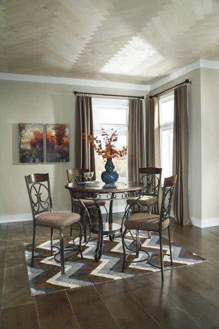 Glambrey Brown 5 Pc. Round Counter Table & 4 Barstools