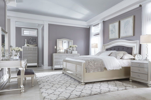 Coralayne Silver 11 Pc. Dresser, Mirror, Chest, King Upholstered Panel Bed, 2 Nightstands, Vanity with Mirror & Stool