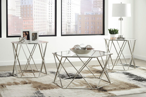 Madanere Chrome Finish Occasional Table Set (3/CN)