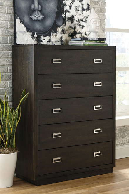 Hyndell Dark Brown Five Drawer Chest