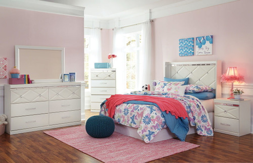 Dreamur Champagne 4 Pc. Dresser, Mirror & Full Panel Headboard with Bolt on Metal Frame