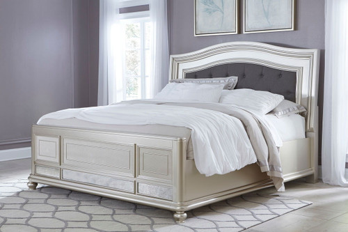 Coralayne Silver California King Upholstered Panel Bed