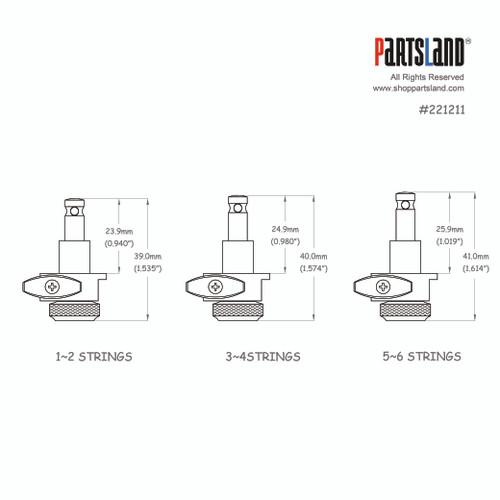 Mini Schaller Style Semi Staggered Flat Coin Lock Tuner