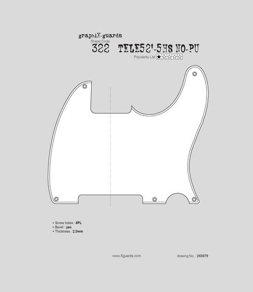 Tele 52'-5 Holes NO-Pickup W322