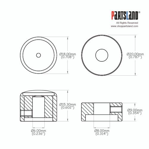 Flat Top Dual Knob / Brass