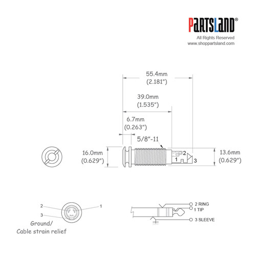 End Pin Output Jack / Exterior screw-clip type