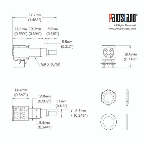 Mini Small Shaft Dual Pot / Center Click
