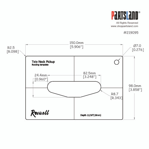 Pickup Routing Template - Tele Neck