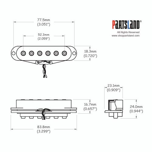 Allen Pole Single coil Pickup / Ceramic