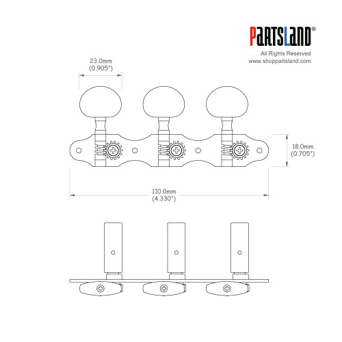 Deluxe Classical Tuner Oval Button