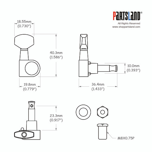 <drop>Schaller Pin Style 6-In-Line Tuner