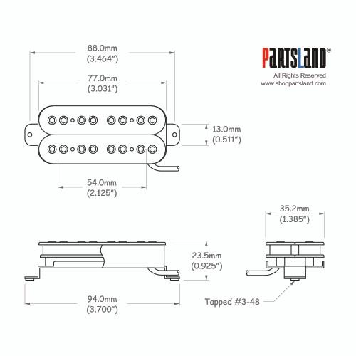 8-holes Wrench poles Humbucker bass Pickup / Ceramic