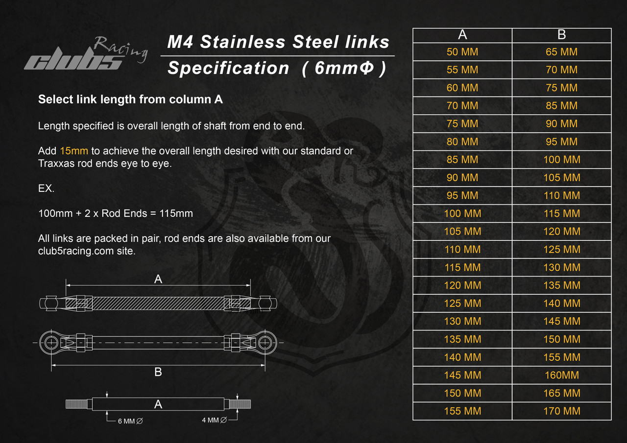 """""""Husky Link"""" M4 HD 6mm Stainless Steel Links  ( 50 - 100mm ) / ( x 2 )"""